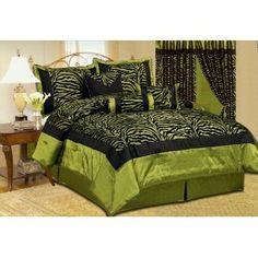 Beautiful 7 Pc Green & Black Zebra Print with Flocking Texture, Queen Size Bedding Set