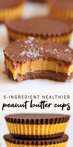 Recipes Snacks Sweet Delicious, healthier peanut butter cups made with only 5 ingredients! Sweetened with honey, or swap with maple syrup for a vegan-friendly treat. If you love peanut butter cups, you will LOVE this healthy copycat! Healthy Sweets, Healthy Dessert Recipes, Healthy Baking, Easy Desserts, Baking Recipes, Healthy Snacks, Recipes Dinner, Vegan Baking, Healthy Nutrition