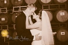 Bride and Groom in the Barrel Room