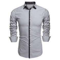 FLATSEVEN Herren Designer Slim Fit Farbblock Business Hemd (SH115) Hellblau, S