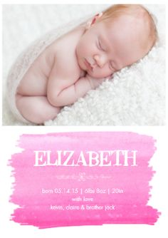 Birth Announcement, $0.69 per card. rounded corners.