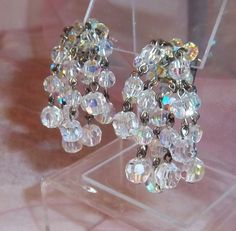 Sparkling Vintage Aurora Borealis Crystal Cluster Dangle Clip Earrings, 1940s  #Cluster
