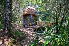 Stay in the Mushroom Dome Tiny House in Aptos, California, the Airbnb Rental! Tiny Cabins, Cabins And Cottages, Paulette Magazine, Airbnb Rentals, Hotel Airbnb, Vacation Rentals, Vacations, Best Tiny House, Micro House