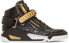 Versace Black Croc-Embossed High-Top Sneakers