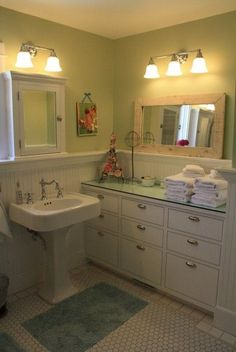 bathroom tile wainscot height | Bungalow Arts Crafts Bathroom