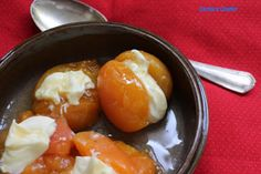 Carole's Chatter: Mascarpone stuffed poached apricots Roux Recipe, Mascarpone Cheese, Dried Apricots, Vanilla Essence, Quotations, Recipes, Food, Recipies, Essen