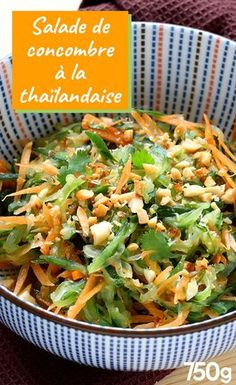 Thai cucumber salad – The most beautiful recipes Vegetarian Recipes Easy, Healthy Salad Recipes, Asian Recipes, Cooking Recipes, Lunch Recipes, Kid Recipes, Recipes Dinner, Thai Cucumber Salad, Snacks Saludables