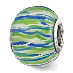 Sterling Reflections Blue, Green and White Glass Bead