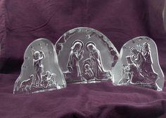 Glass Nativity Christmas Crystal Kings Shepherd 3 Piece Jesus Sheep Embossed #RayBSmith