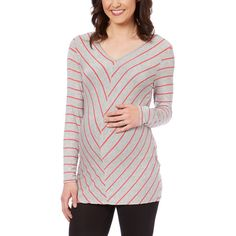Mom & Co. Gray & Coral Stripe Maternity Scoop Neck Top (225 MXN) ❤ liked on Polyvore featuring maternity