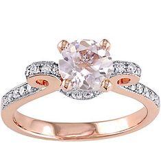 14K 0.85 ct Morganite & 1/5 cttw Diamond Ring