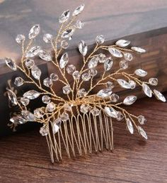 Bling Rhinestone Crystal Hair Jewelry Headbands and Tiaras Two Colors Pageant Party Wedding Crowns Tiaras For Women Casamento Bridal Hair Pins, Hair Comb Wedding, Wedding Bouquet, Silver Hair Accessories, Jewelry Accessories, Jewelry Sets, Side Comb, Color Dorado, Barrettes