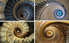 Dizzy The top right photo is of The Tulip Stairs, inside the Queen's House, Greenwich Park in London. It was the first centrally unsupported spiral stairs constructed in England. On the middle left is a view looking up the spiral staircase that leads from the upper floor of the Stift to the Cathedral. It is located in Melk, Austria.