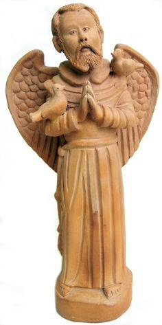 eça em terracota confeccionada por Zézinho de Tracunhaém ceramista de Tracunhaém-PE.      São Francisco de Assis