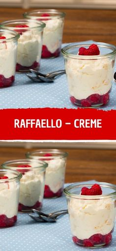 Ingredients for 4 servings: 500 g curd cheese (curd cheese) 200 g cream (cream) 50 g sugar 2 packs of vanilla sugar 400 g raspberries (frozen) 1 pack of confectionery (raffaello) . Easy Cheesecake Recipes, Healthy Dessert Recipes, Healthy Baking, Delicious Desserts, Homemade Cheesecake, Brownie Desserts, Chocolate Desserts, Spaghetti Eis Dessert, Sandwich Ingredients