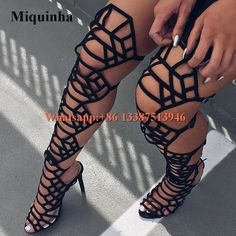99.75$ Buy now - New Fashion Women Open Toe Black Suede Leather Over Knee Gladiator Boots Cut-out Super High Heel Sandal Boots #buyonlinewebsite
