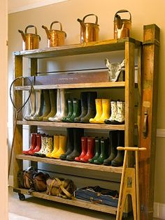 boot storage in garage Hallway Storage, Closet Storage, Garage Storage, Storage Shelves, Shelving, Kitchen Storage, Shoe Shelves, Smart Storage, Boot Storage