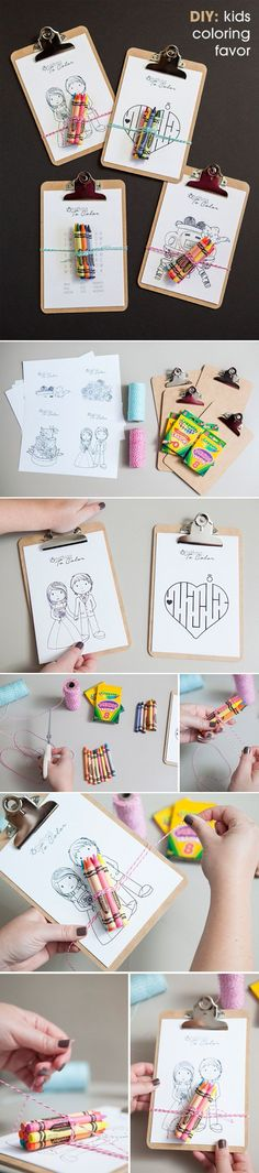 Kiddos on your guest list?  Here's an idea to keep them entertained.  DIY kids coloring sheets clipboard wedding favors