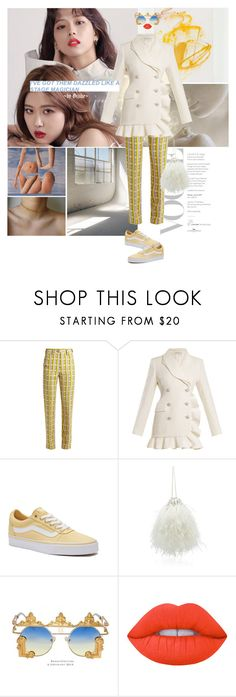 """Baby, please, you're dead wrong"" by gizibe ❤ liked on Polyvore featuring Miu Miu, Alessandra Rich, Vans, Flora Gold and Lime Crime"