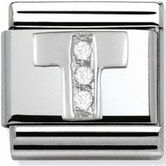 Shop Silver CZ T - Classic Nomination Charm 60002790 from Something Elegant. Letter T, Letter Charms, Nomination Charms, Free Gifts, First Love, Initials, Charmed, Classic, Silver