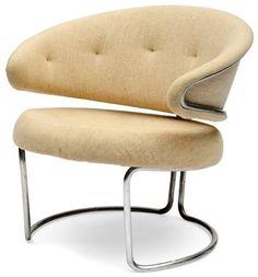 Grete Jalk; Chromed Tubular Metal Chair for Fritz Hansen, 1967.