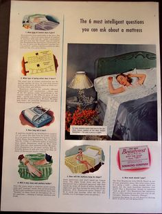 This is an original advertisement from a 1940 Life magazine. All ads are original and in very good to excellent condition unless otherwise noted. Product advertised: Simmons Beautyrest mattress. Measurements: about 10 1/4 x 14. Suitable for framing. Perfect for home or