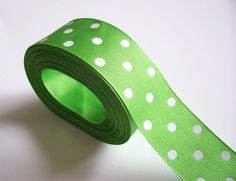 Bright Lime Green Polka Dot Grosgrain Ribbon 1 by GriffithGardens, $2.00