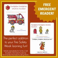 Free Printable Firefighter, Firefighter, What Do You See? Emergent Reader :: Add this free printable emergent reader to your fire safety studies during Fire Safety Week, the week of October 6. :: So You Call Yourself a Homeschooler?