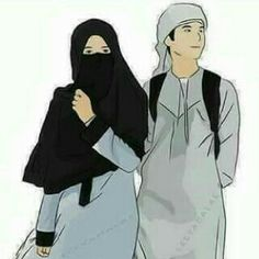Halal Couple Couple Cartoon Pictures, Love Cartoon Couple, Cute Couple Art, Cute Couple Pictures, Cute Muslim Couples, Cute Couples, Niqab, Muslim Couple Photography, Ideal Girl