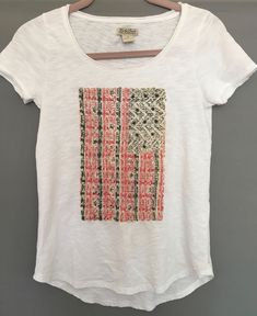 79211684 Lucky Brand Women Size XS fits S Crochet Studded Flag Patriotic Tee Shirt  c97 #LuckyBrand