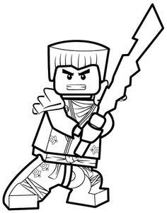 Coloriage et dessin de Ninjago à imprimer - Coloriage Zane le ninja blanc