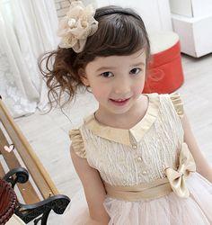 Flower Girl Dress Gold Collar Wedding Bridesmaids by Studiodress, $92.00