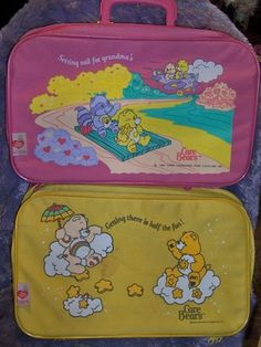 Rare Vintage Care Bears Pink & Yellow Luggage Overnight Suitcases Lot of 2 $9.99