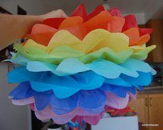 rainbow+tissuepaper+flowers+pompoms
