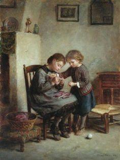 La tricoteuse, de Pierre Edouard Frère (1819 – 1886). http://iamachild.wordpress.com/2011/05/20/pierre-edouard-frere-1819-1886-french/