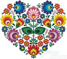 Polish Folk Heart cross stitch pattern - a la the painted rose cross stitch - a little ambitious for the bedroom perhaps?