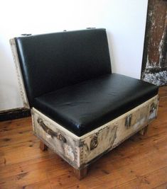 Cool way to reuse an old trunk. I like that it's leather, makes it look so classy!
