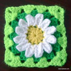Wild daisy flower granny square pattern by Maz Kwok Crochet Square Pattern, Granny Square Crochet Pattern, Crochet Flower Patterns, Square Patterns, Crochet Squares, Crochet Motif, Crochet Flowers, Free Crochet, Granny Squares