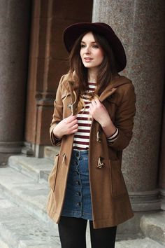 Dark tan brown jacket, brown and white striped shirt, jean skirt, and wide brim hat... Perfect fall outfit :)