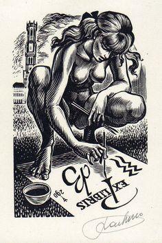 ExLibris. Frank-Ivo van Damme is een Belgisch graficus. Werd wereldwijd bekend voor zijn grafische kunsten, maar bovenal voor zijn ruim 800 exlibrissen in houtsnede of koper gravure . Veel van zijn hout- en kopergravures zijn erotisch getint. Zijn interesse in wereldliteratuur kan men terugvinden in zijn werken, dit geldt evenzo voor de Griekse en Romeinse mythologie . Van Damme zoekt naar een evenwicht tussen zijn werk en bijbehorende teksten die het werk ondersteunen.