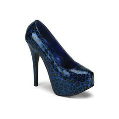 Women's Bordello Teeze 37 - Blue Pearlized Cheetah Patent Dress ($32) ❤ liked on Polyvore featuring shoes, blue, cheetah print shoes, blue platform shoes, platform shoes, high heel platform shoes and patent leather shoes