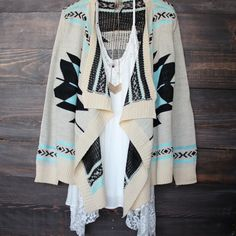 aztec open cardigan | Turquoise sweater cozy bonfire fall winter women's under $50 bohemian boho gypsy hippie southern from shophearts