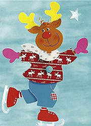 Christmas window photo: Reindeer on ice skates Christmas Door Decorations, Christmas Ornament Crafts, School Decorations, Christmas Signs, Christmas Pictures, Christmas Crafts, Hobbies And Crafts, Diy And Crafts, Paper Crafts