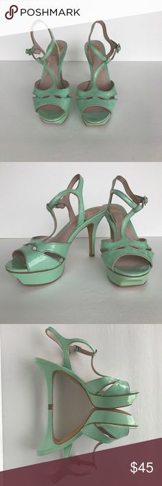 """⚡️💥VINCE CAMUTO TRINNA SANDALS⚡️💥 VINCE CAMUTO TRINNA SANDALS, Mint Green, Size 7.5, Like New, 4.5"""" heel 1.5"""" Platform. Smoke Free Home, Ready to Ship Vince Camuto Shoes Platforms"""