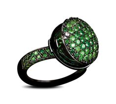 Solange Azagury-Partridge, Smartie Poison ring, A pavé set Emerald ring with pavé set shank in blackened 18ct white gold