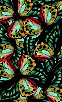 print pattern estampa like butterflies green aqua teal turquoise orange by natalia gemma Pretty Patterns, Beautiful Patterns, Color Patterns, Floral Patterns, Pattern Art, Pattern Design, Surface Pattern, Surface Design, Butterfly Print