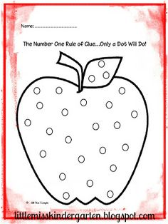 Little Miss Kindergarten - Lessons from the Little Red Schoolhouse!: Grab your #1 Rule of Glue...Only a Dot Will Do! Freebie and copy on colored paper to use with black hole punch dots! Happy, happy Back to School Fun!
