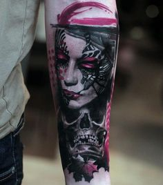 Face and skull tattoo by Pavel Krim