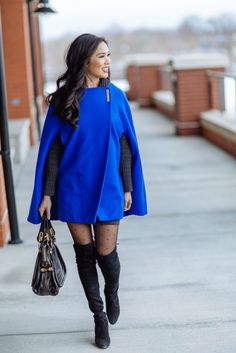 Cape Coat with over the knee boots and polka dot tights