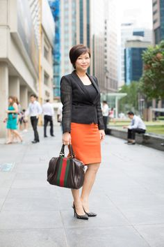Classically Updated: Mega, Banker, Jacket from Armani, Shoes from BCBG, Earrings from What Women Want.  #shentonista #theuniform #singapore #fashion #streetstyle #style #ootd #shentonway #armani #uniqlo #korea #bcbg #gucci #pandora #whatwomenwant #gregarious #socialbutterfly #cool
